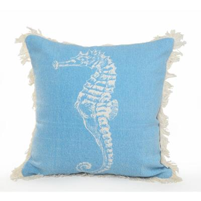 18 in. x 18 in. Blue/Cream Coastal Seahorse Fringe Standard Throw Pillow