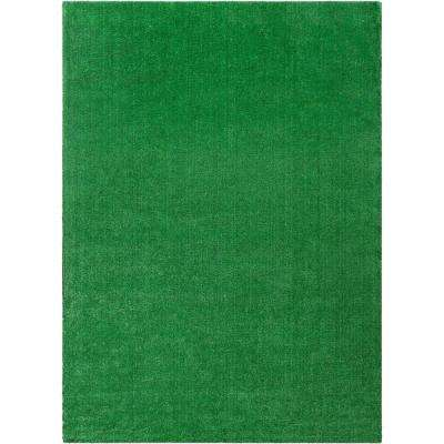 Venice Modern 7 ft. 10 in. x 9 ft. 10 in. Indoor Outdoor Non-Slip Synthetic Artificial Turf Green Carpet