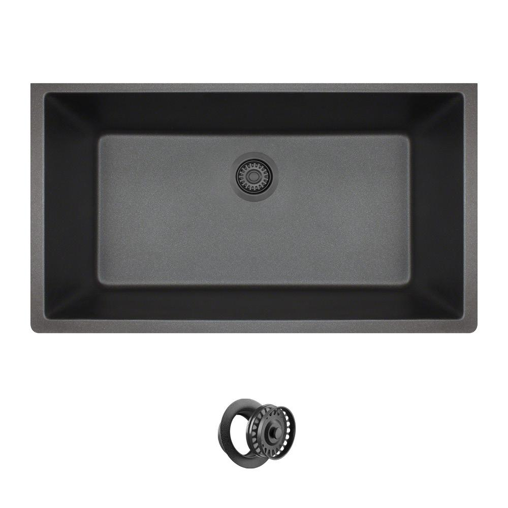 Mr Direct  Black Trugranite Single Bowl Kitchen Sink