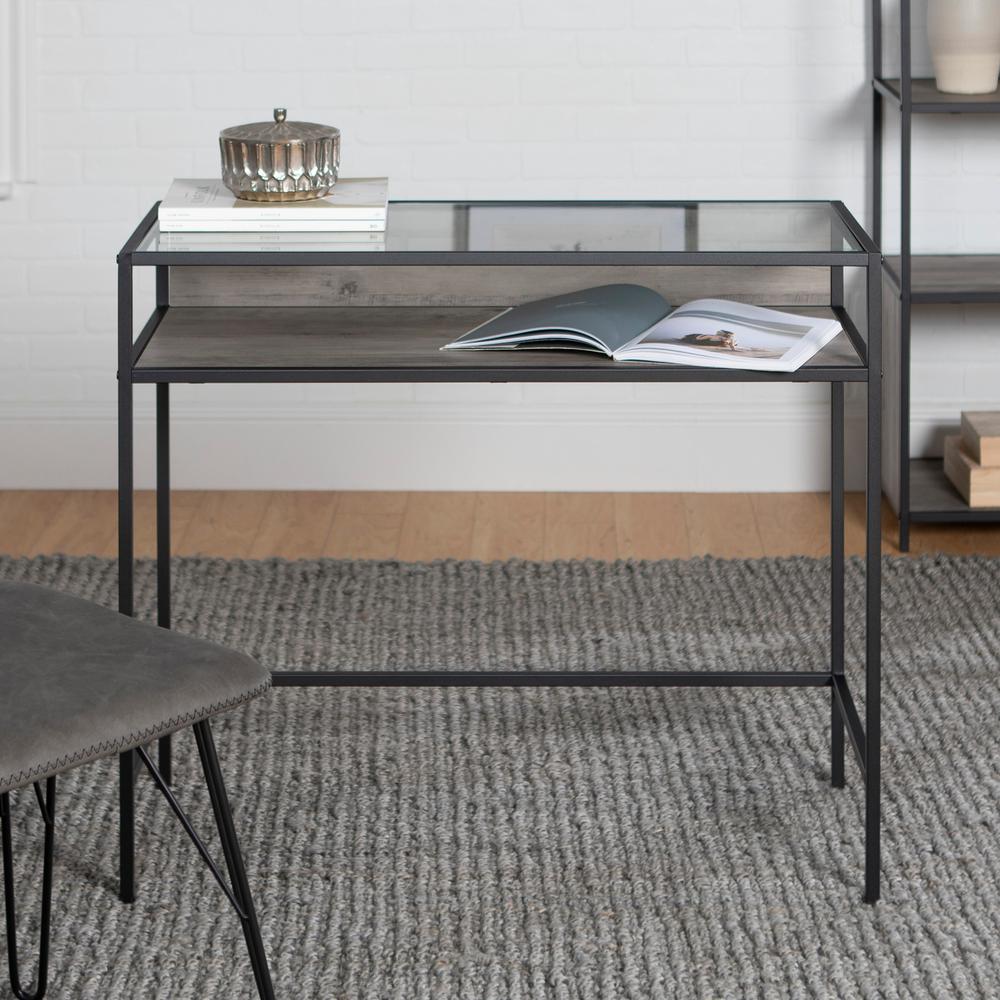 35 in. Rectangular Grey Wash Writing Desks with Built-In Storage
