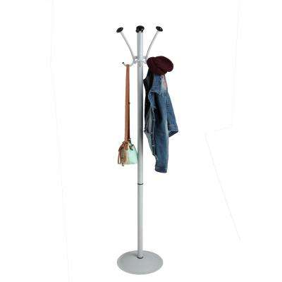 4.25 in. W x 71.5 in. H Silver Metal Free standing Coat rack with Black Edges