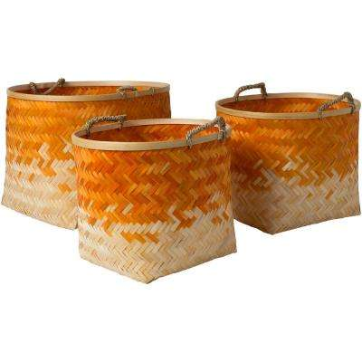 Adely Bright Orange Bamboo 15 in. x 11 in., 16.9 in. x 12.6 in., 18.9 in. x 14.2 in. 3-Piece Basket Set