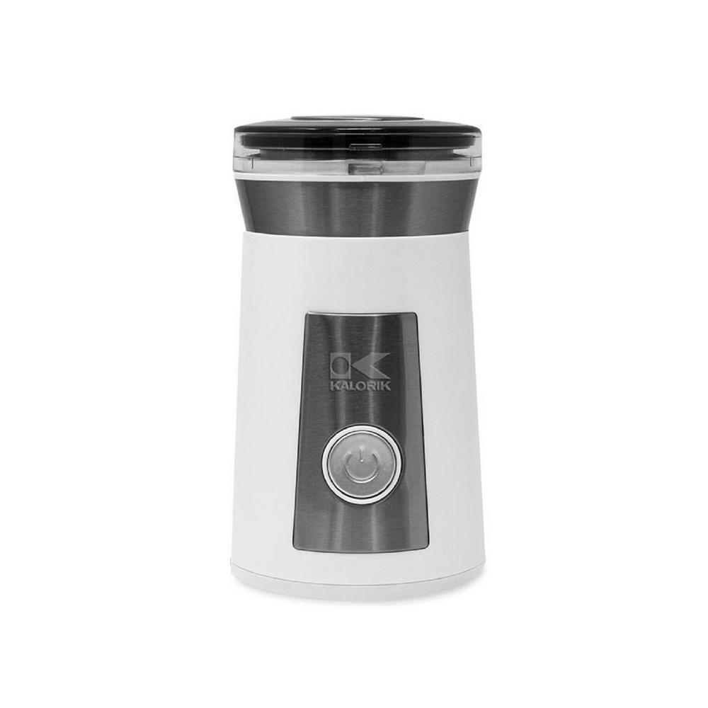 White Coffee and Spice Grinder Brewing the perfect cup of coffee starts with fresh ground. Grind whole coffee beans to perfection with the KALORIK Coffee and Spice Grinder. With the touch of a button, you will have fresh grounds for up to 7-cups of coffee in a matter of seconds. Customize the grind level from coarse to fine by simply adjusting the duration of the grind. The grinder offers a large 2.3 oz. capacity as well as a safety lock feature to ensure that the grinder only functions when the lid is securely in place. The removable grinding cup and compact design make cleaning and storage a breeze. In addition to coffee beans, this versatile grinder is also perfect for nuts, herbs, grains and spices. Color: White.