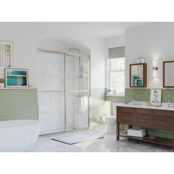 Paragon 54 in. to 55.5 in. x 70 in. Framed Sliding Shower Door with Towel Bar in Brushed Nickel and Clear Glass
