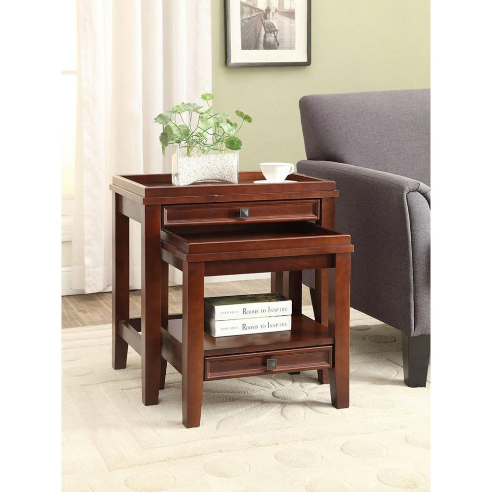 Marvelous Linon Home Decor Wander Cherry 2 Piece Nesting End Table