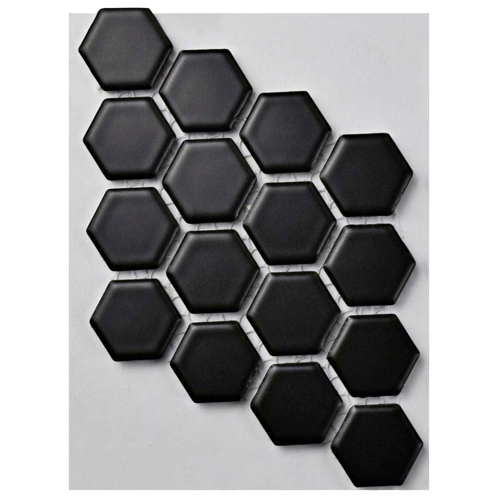 Metro Hex Matte Black Porcelain Mosaic Tile 3 In X 4