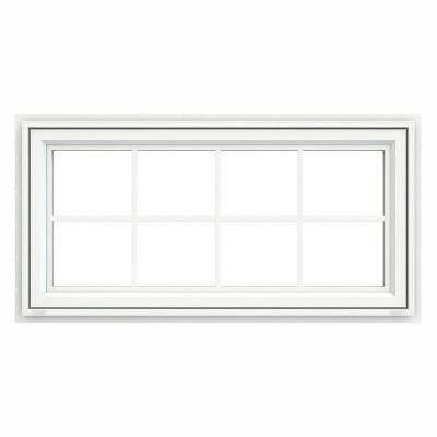 47.5 in. x 29.5 in. V-4500 Series White Vinyl Awning Window with Colonial Grids/Grilles