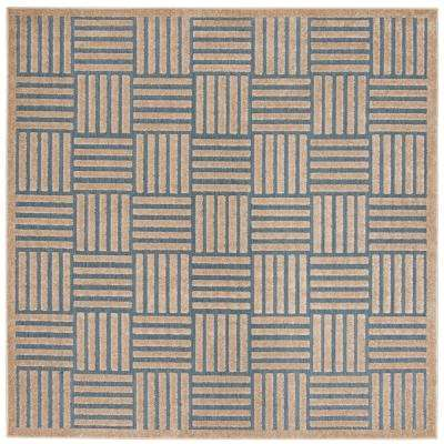 Cottage Light Blue/Beige 7 ft. x 7 ft. Indoor/Outdoor Square Area Rug