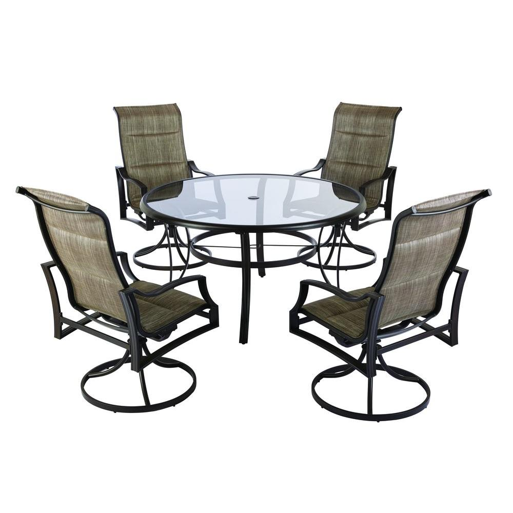 Hampton Bay Statesville 5 Piece Padded Sling Patio Dining Set With 53 In Gl Top