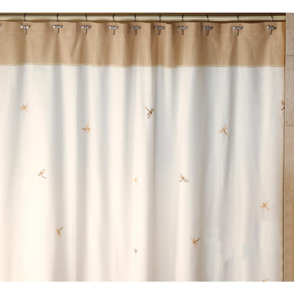 Dragonfly 70 in. x 72 in. 100% Cotton Nature-Themed Shower Curtain