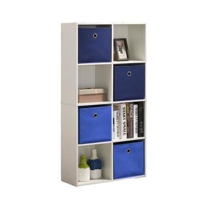 Royal 47 in. White Composite 8-Shelf Bookcase with Fabric Baskets