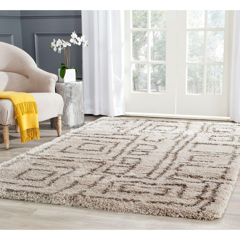 Belize Shag Taupe/Gray 5 ft. 1 in. x 7 ft. 6