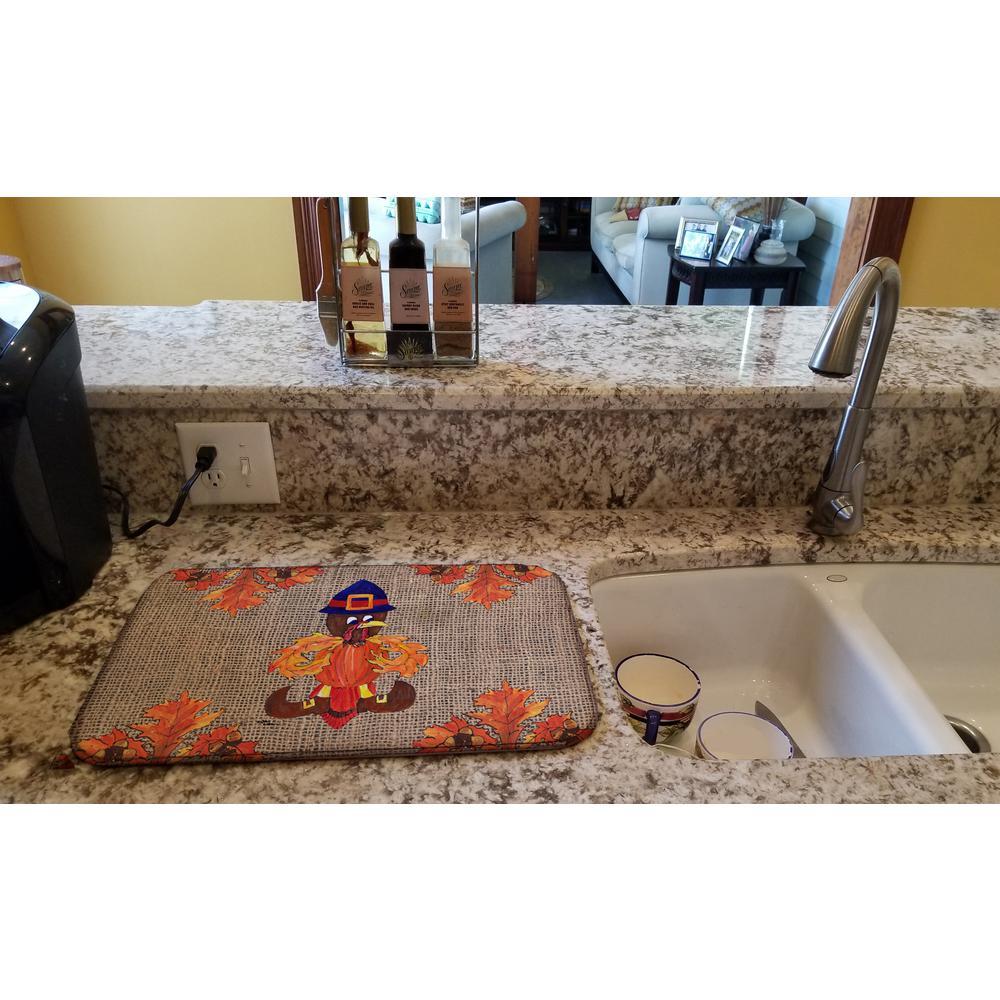 14 in. x 21 in. Multicolor Thanksgiving Turkey Pilgram Fleur De Lis Dish Drying Mat
