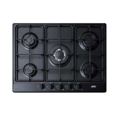 27 in. Gas Cooktop in Black with 5 Burners including Power Burner