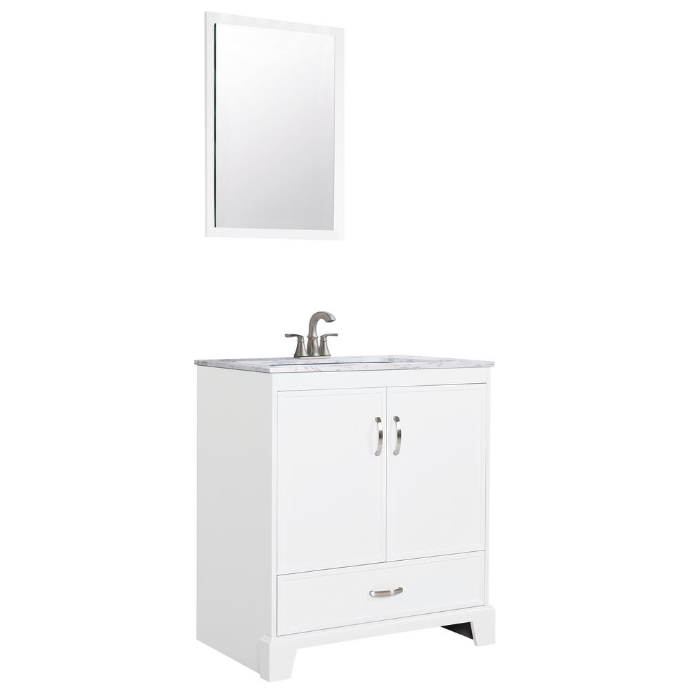 Glacier Bay Keighley 30 in. Bath Vanity in White with Engineered Stone Vanity Top and White Basin and Mirror