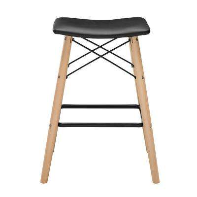 Retro Modern 26 in. Solid Wood Cushioned Bar Stool