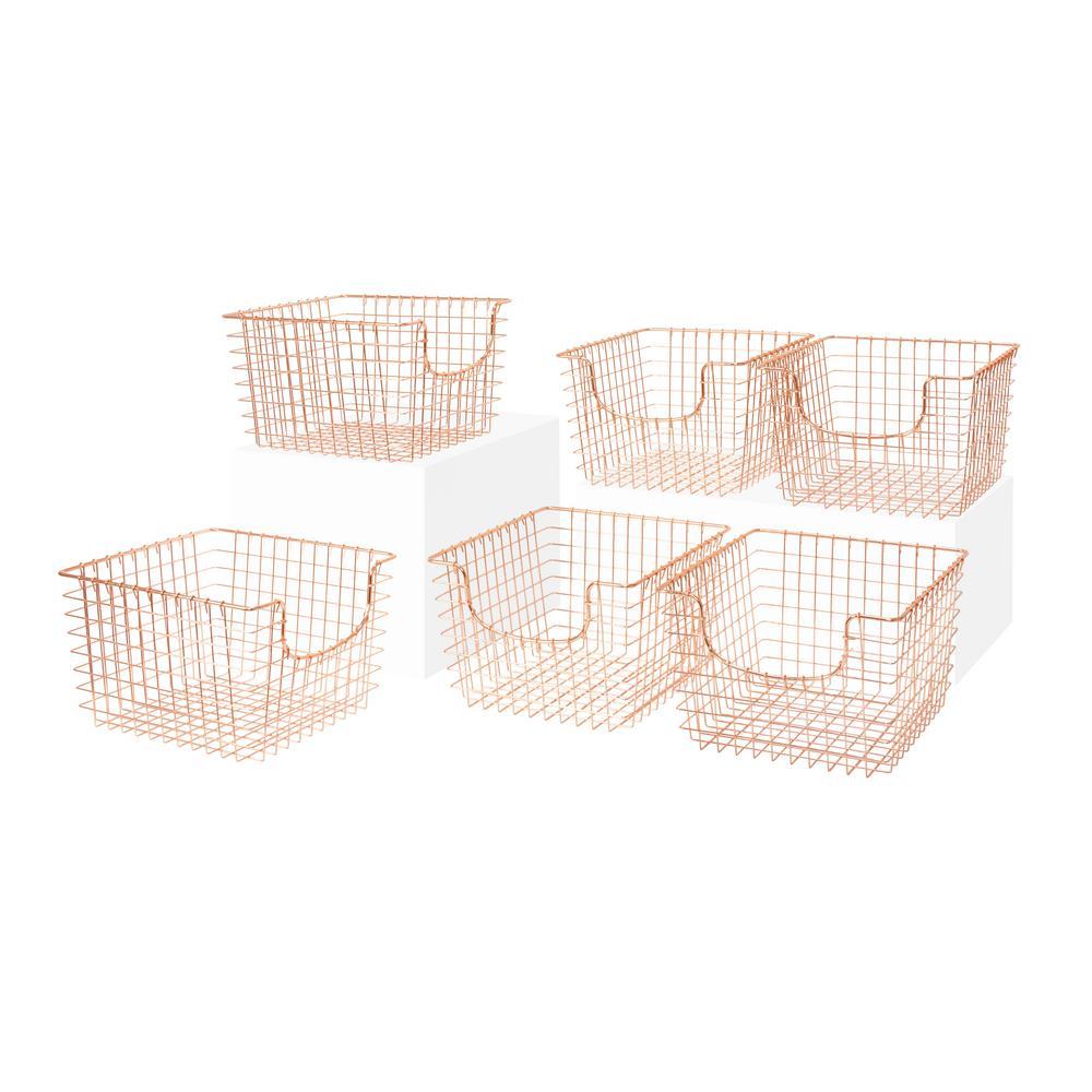 13 in. D x 12 in. W x 8 in. H Scoop Copper Medium Wire Storage Bin Basket Organizer (6-Pack)