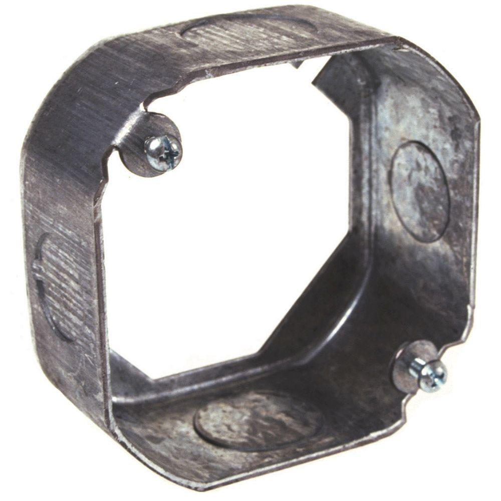 4 in. Octagon Extension Ring, Drawn, 1-1/2 in. Deep, Two 1/2