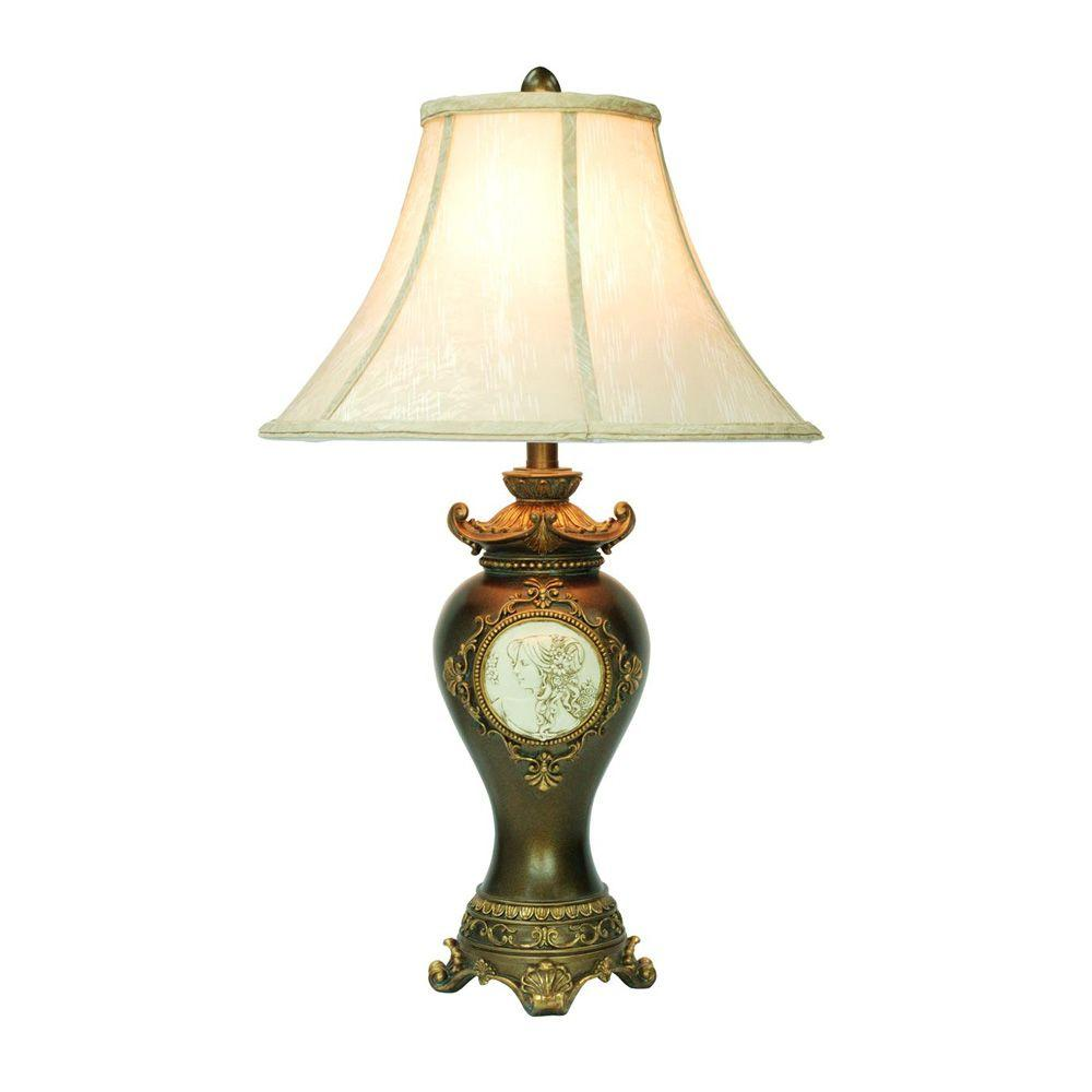 Ok Lighting 29 In Antique Brass Table Lamp Ok 4192t The Home Depot