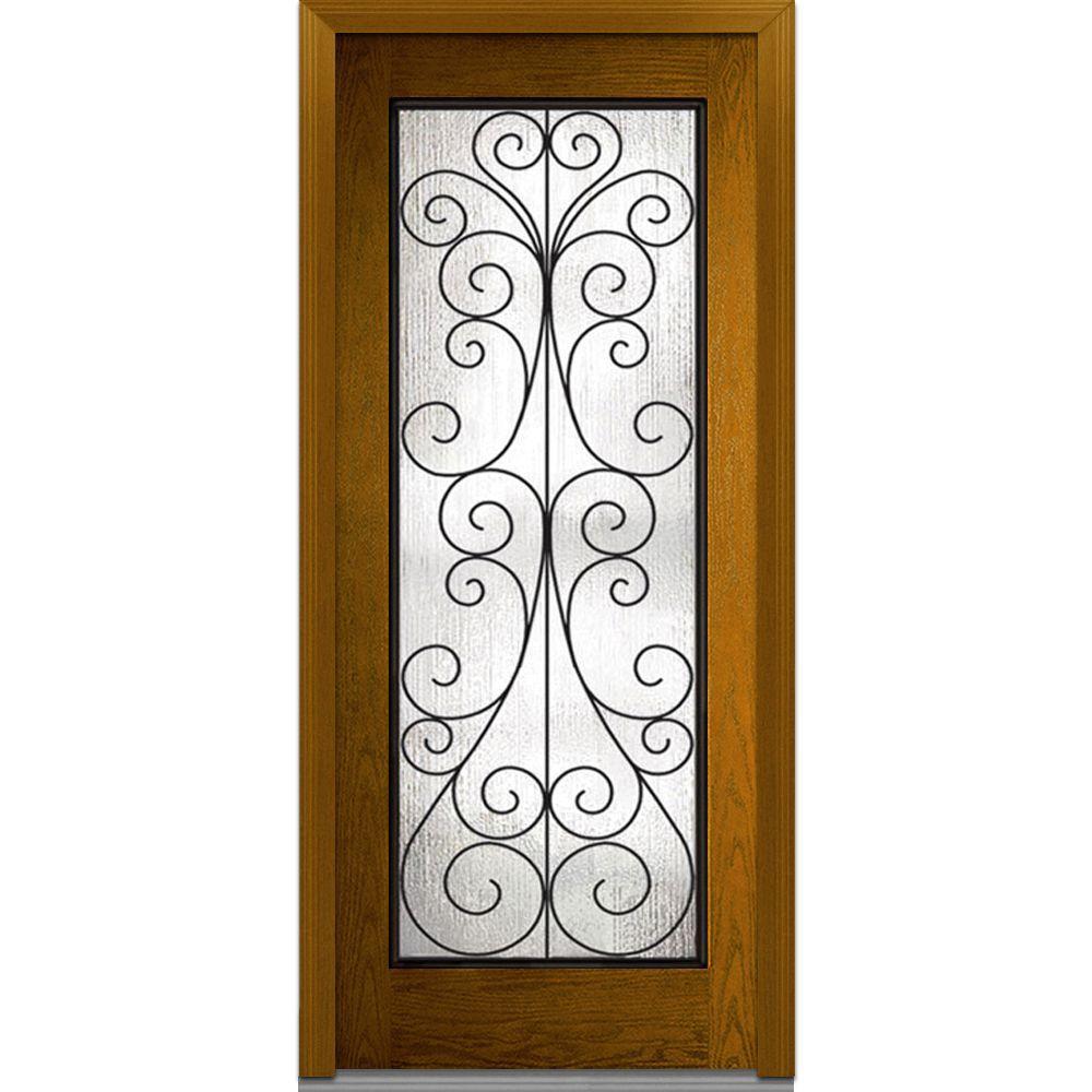 MMI Door 32 in. x 80 in. Camelia Left-Hand Full Lite Midcentury Stained Fiberglass Oak Prehung Front Door