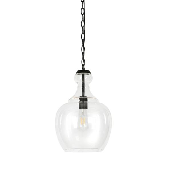 Westford Blackened Bronze and Clear Glass Pendant