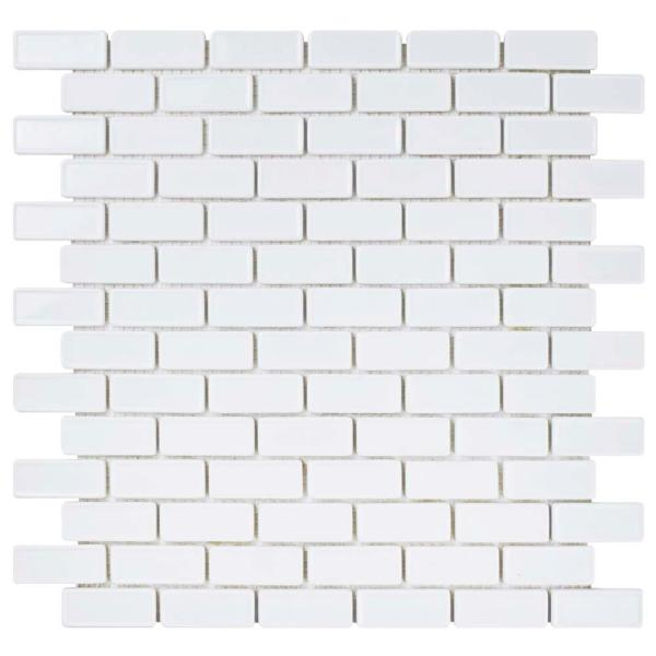 Expressions Recessed Subway White 11-3/4 in. x 12 in. x 6 mm Glass Mosaic Tile