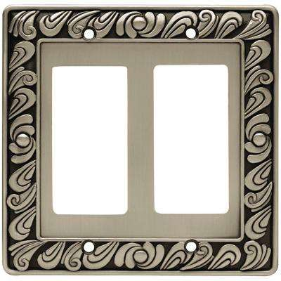 Paisley Decorative Double Rocker Switch Plate, Brushed Satin Pewter