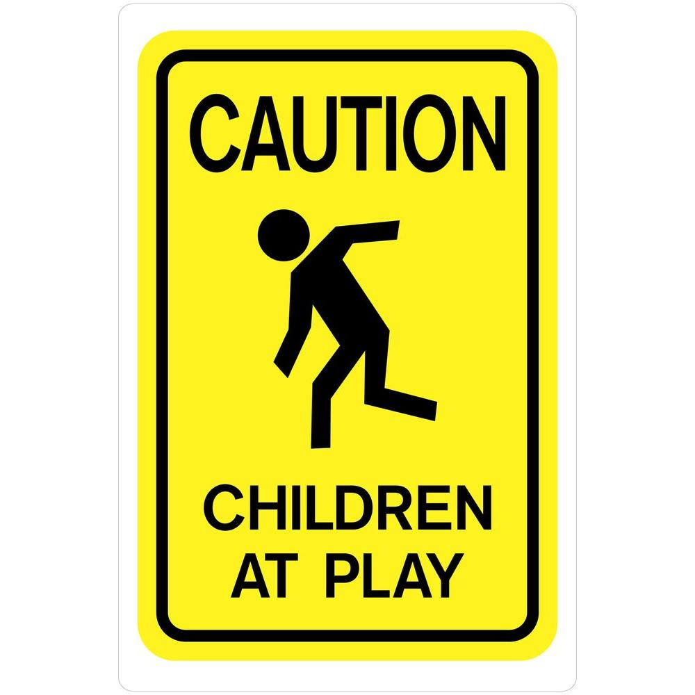The Hillman Group 18 in. x 12 in. Plastic Caution Children ...