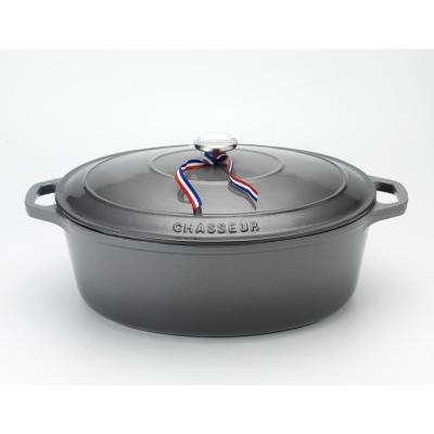 4.2 Qt. Caviar-Grey Enameled Cast Iron Oval Dutch Oven