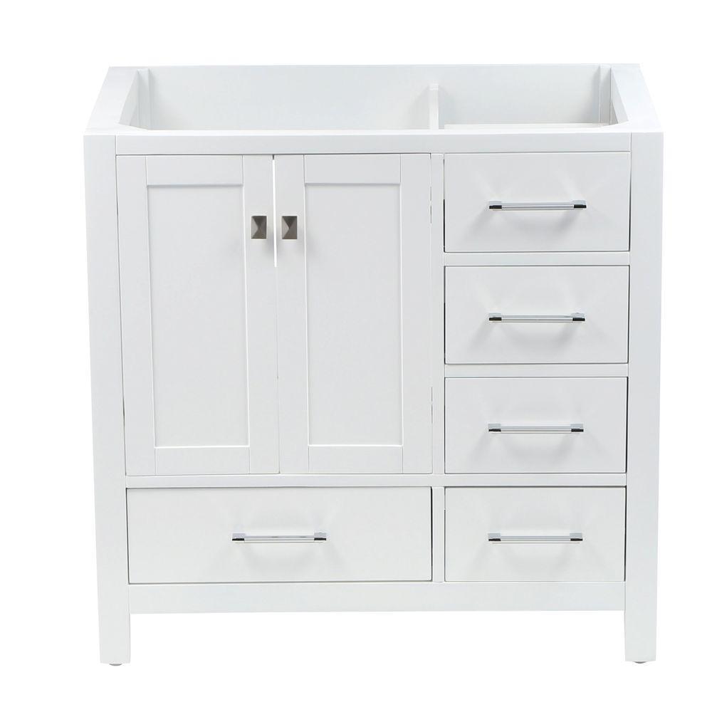 Caroline Avenue 35.2 in. W x 21.65 in. D x 33.46 in. H Vanity Cabinet in White