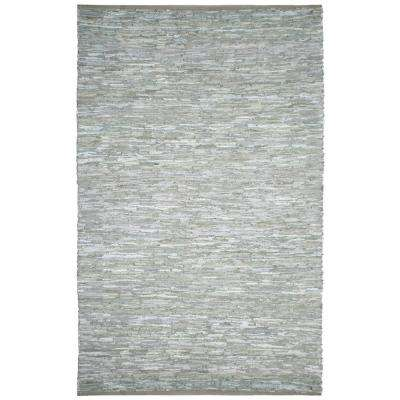 Off-White Leather 9 ft. x 12 ft. Area Rug