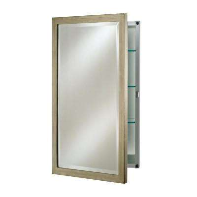 Single Door 16 in. x 22 in. Recessed Medicine Cabinet Basix Brushed Silver