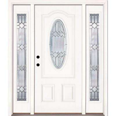 63.5 in.x81.625in.Mission Pointe Zinc 3/4 Oval Lt Unfinished Smooth Right-Hd Fiberglass Prehung Front Door w/ Sidelights