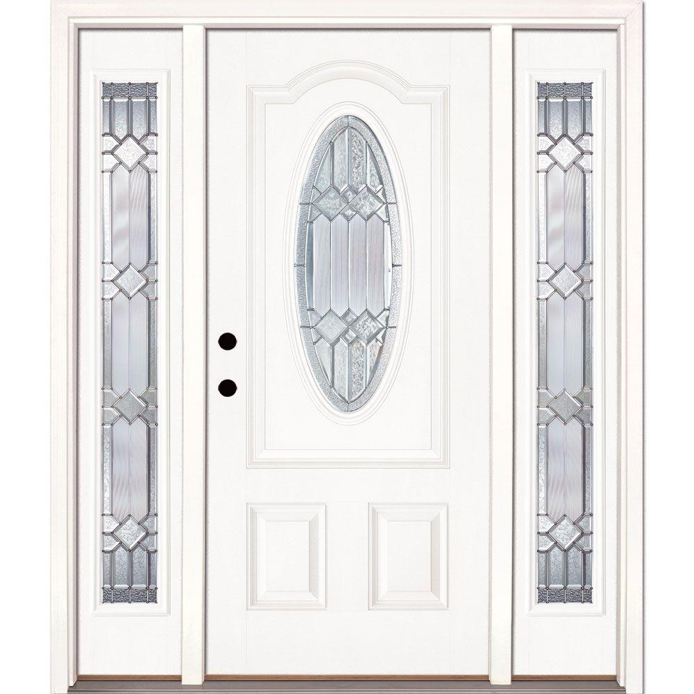 Feather River Doors 67.5in.x81.625in. Mission Pointe Zinc 3/4 Oval Lt Unfinished Smooth Right-Hd Fiberglass Prehung Front Door w/ Sidelights
