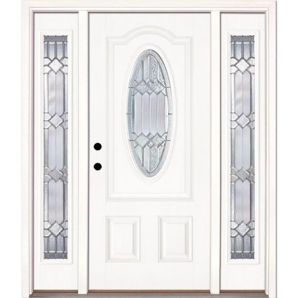 67.5in.x81.625in. Mission Pointe Zinc 3/4 Oval Lt Unfinished Smooth Right-Hd Fiberglass Prehung Front Door w/ Sidelights
