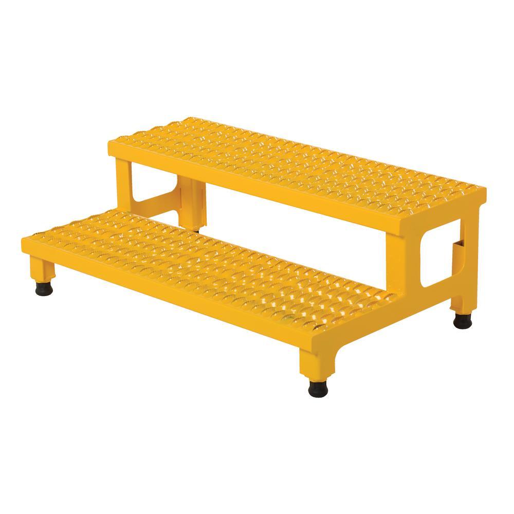 Vestil 36 inch x 23 inch 2-Step Adjustable Steel Step Stand by Vestil