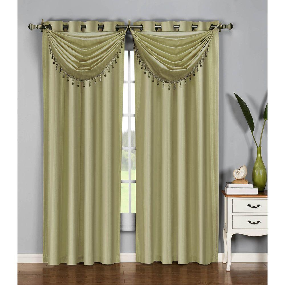 Window Elements Semi-Opaque Jane Faux Silk 84 in. L Grommet Curtain Panel Pair, Tea (Set of 2)