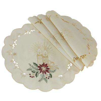 0.1 in. H x 12 in. W Round Golden Glow Embroidered Cutwork Christmas Doilies (Set of 4)