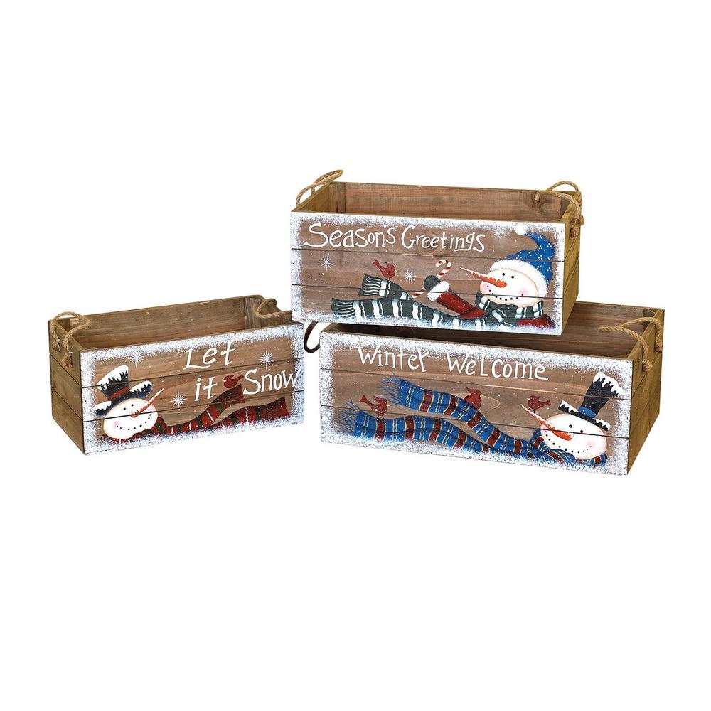 S/3 Asst Wood Snowman Crates