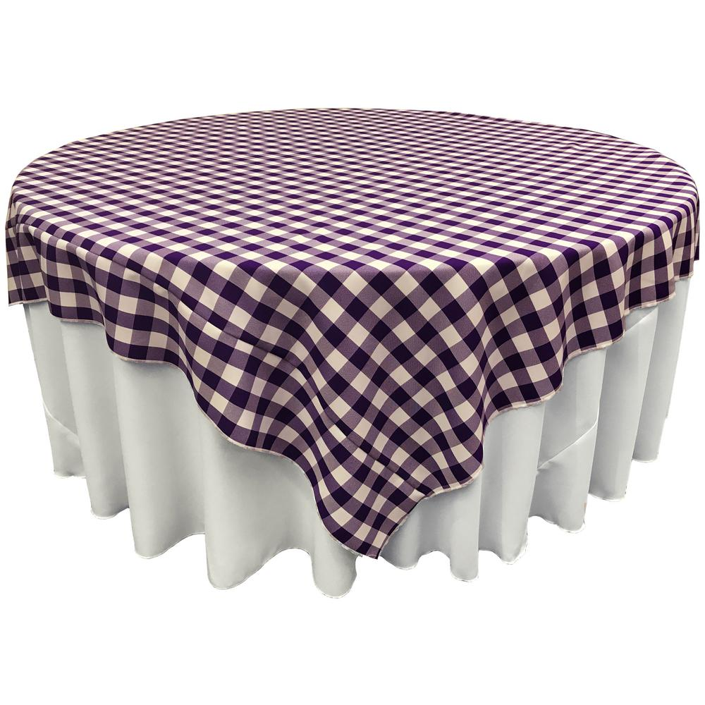Exceptionnel White And Purple Polyester Gingham Checkered