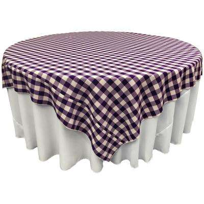 """90 in. x 90 in. White and Purple Polyester Gingham Checkered Square Tablecloth"""