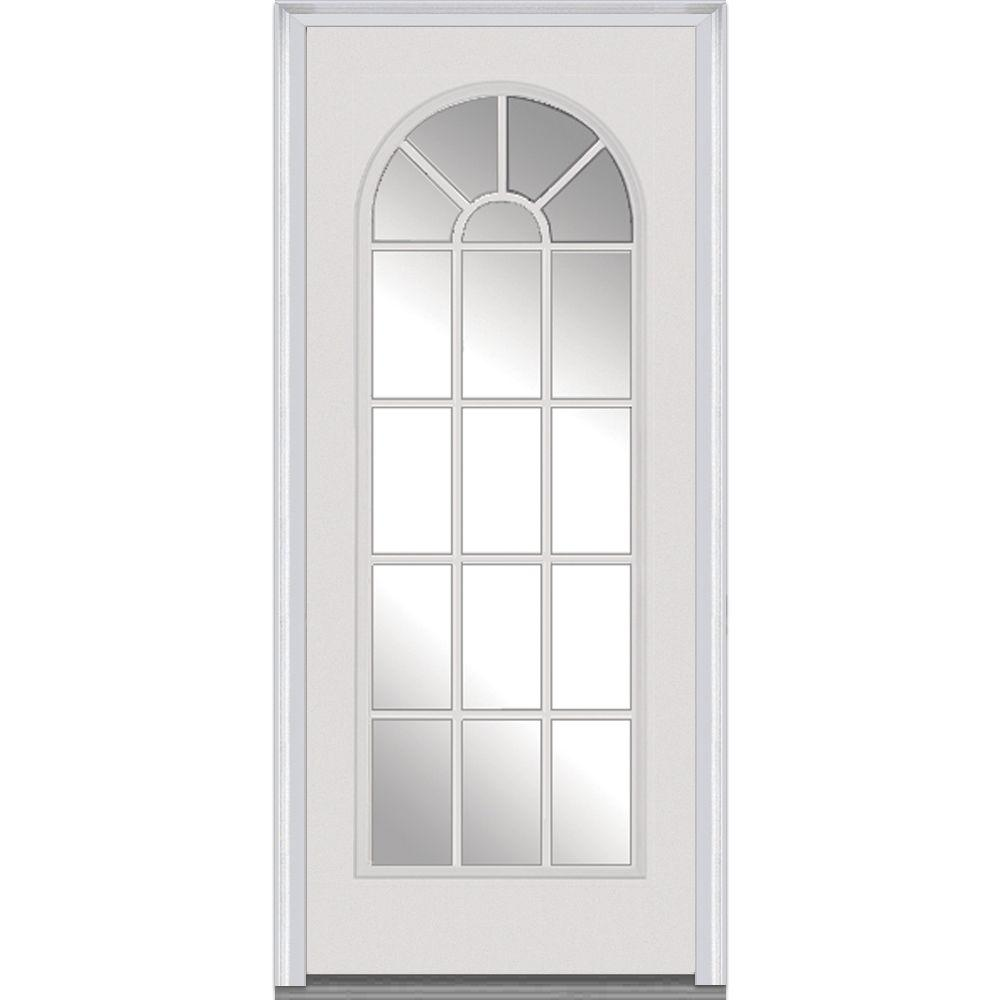Mmi door 36 in x 80 in clear glass right hand full lite for External front doors with glass