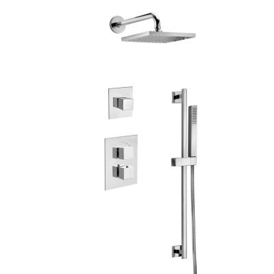 Quadro 3-Spray Square Shower Head and Wall Bar Shower Kit with Hand Shower in Chrome