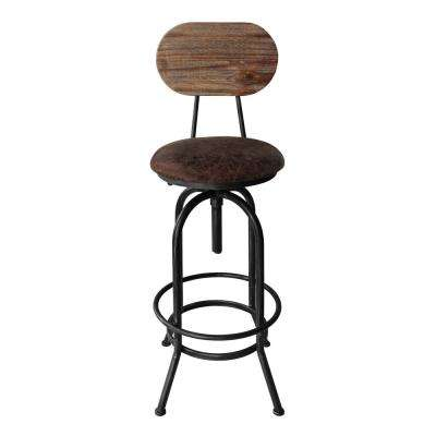 Quentin Industrial 41-47 in. Silver Brushed Gray Adjustable Barstool with Brown Fabric Seat and Rustic Pine Back