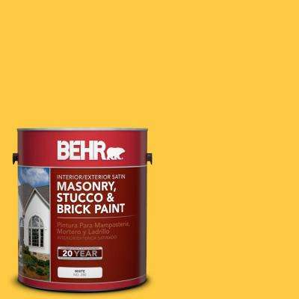 1 gal. #P290-6 English Daisy Satin Interior/Exterior Masonry, Stucco and Brick Paint