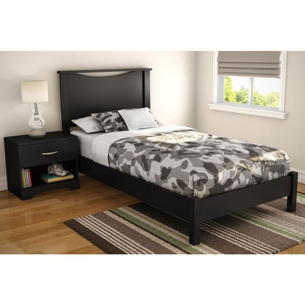 South shore step one twin size headboard in pure black for 5 yr old beds