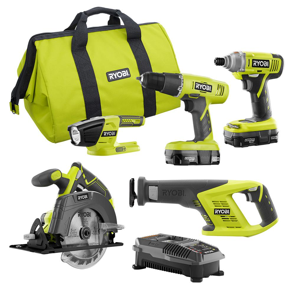 RYOBI 18-Volt ONE+ 5-Tool Combo Kit with Drill, Circ Saw, Recip Saw, Impact  Driver, Light, (2) 1 3 Ah Batts, Charger, and Bag