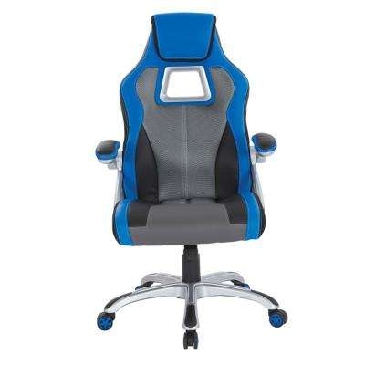 Race Chair in Charcoal Grey with Blue Trim, White Stitching and Silver Base
