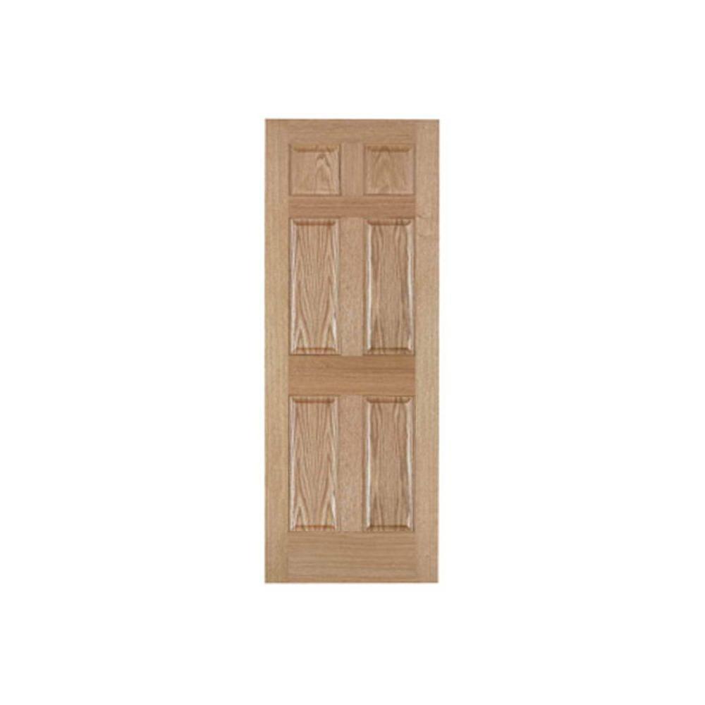32 in. x 80 in. 6-Panel Solid Core Oak Interior Door