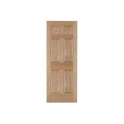 32 in. x 80 in. 6-Panel Solid Core Oak Interior Door Slab